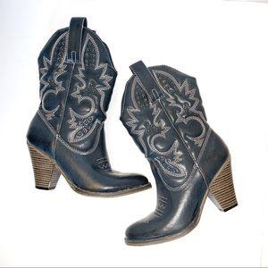 MIA women's western boots mid-calf dark grey Sz 6